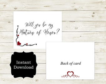 Will You Be My Matron of Honor Wedding Card, Wedding Card, Day of Wedding Card, Matron of Honor Card/Stella Collection