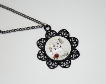 "simple ""Holy religious"" cabochon pendant necklace romantic"