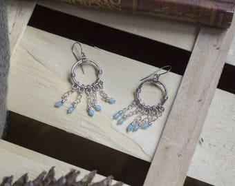 "cute pair of earrings ""aquamarine"" boho - Bohemian - romantic - trendy - blue"