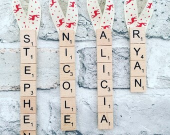 Personalised scrabble christmas tree decorations