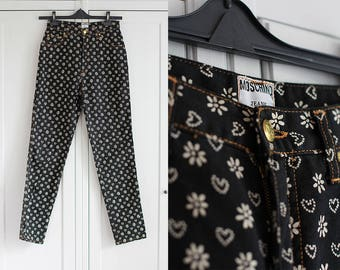 Moschino Jeans Black White Hearts and Flower Print Women Vintage High Weisted Pants Size W27 L30 Madein Italy