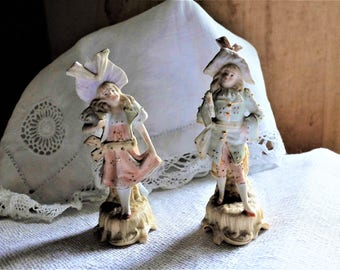 Antique Pair of Bisque Statues ~ French ~ Boy & Girl ~