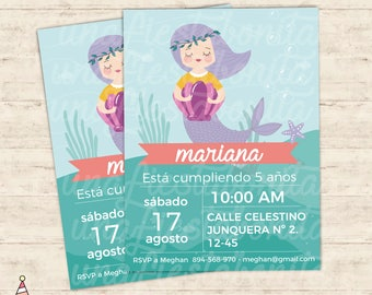 Sea mermaids invitation