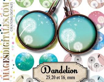 DANDELION  **  Digital Collage Sheet Printable Instant Download for art jewelry scrapbooking bottle caps magnets pins