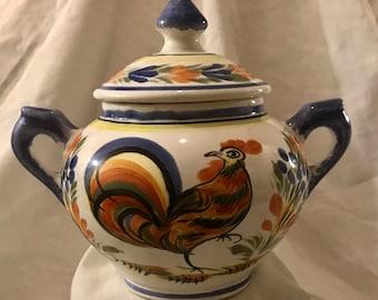 HENRIOT QUIMPER Sugar Bowl / Fluer Royal Rooster