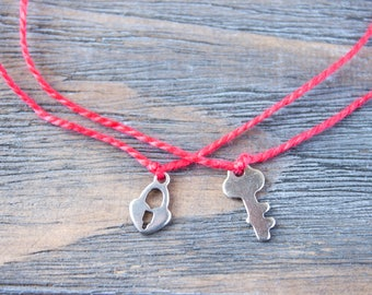 Couples Bracelets Red String Long Distance Relationship His and Hers Matching Bracelets Wish Bracelet Red String of Fate Key Lock Charm Gift