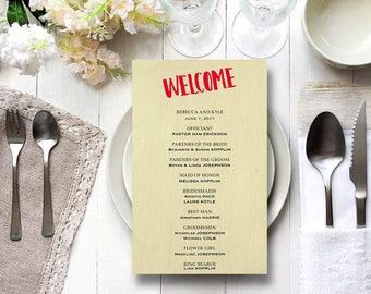 Rustic Wedding program template Ceremony programs template editable program PDF wedding printable program printable wedding program wedding