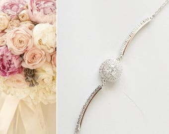 Bridal Bracelet, Crystal Wedding Bracelet, Bridal Jewelry, Simple Bracelet, Round Bracelet, Hochzeit Armbänder
