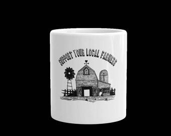 Support your local farmers coffee cup-tea cup-coffee mug-tea mug-gift mug-ceramic white coffee mug cup-farming mug