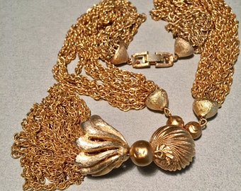 Crown Trifari vintage  multi-chain necklace with gold finials and chain tassel - Very luxurious and glamorous - sure to be noticed!
