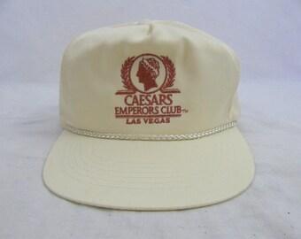 Vintage 90s Caesars Emperors Club Las Vegas Hat Cap Snapback Casino Gambling
