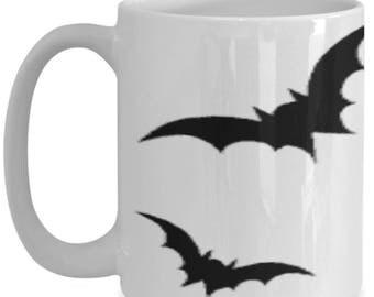 15 oz black bat mug