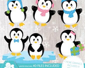 Cool Penguins clipart, Winter penguins clipart, Clip art pack, Digital paper set, Penguin clipart, vector graphics, CL0010
