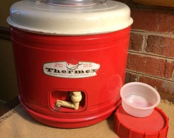 Vintage Cool 1950s Thermex Thermos. Mid Century Red White Color. Metal. Wedding Decor