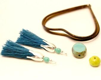 2 PomPoms blue duck, 45mm, faceted Czech crystal Pearl, Turquoise tassel, tassel silver Tassel