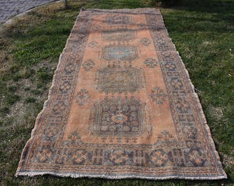 Faded Colored Anatolian Natural dyed Vintage Rug Free Shipping Turkish Rug 4.6 x 11. feet Aztec Rug Home Decor Area Rug Rustic Rug DC908