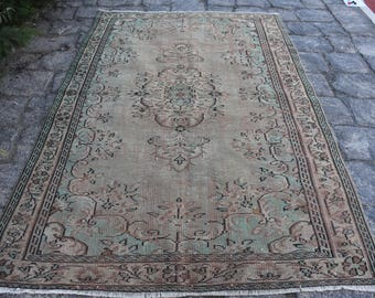 Free Shipping Natural Wool Vintage Rug Decorative Floor Rug 5.9 x 9. feet Turkish Rug Aztec Rug Home Decor Area Rug Bohemian Rug DC967