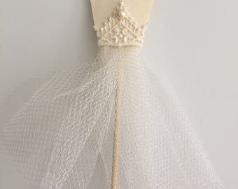 Ivory Tulle & Lace Cake Topper with Matching Cupcake Toppers