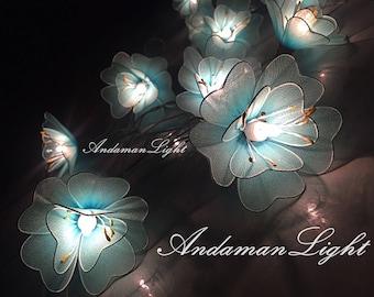 Fairy Lights-20 Blue Flower Fairy String Light Hanging Wedding Gift Party Patio Wall Floor Garden Bedroom String Lights Indoor Lights.