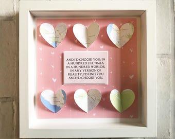 Map Frame | Anniversary Frame | Couples Keepsake | Gift for Couples | Wedding Gift | Wedding Frame | Valentines Day Gift | Engagement Gift