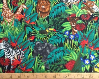 African animals cotton fabric by the yard