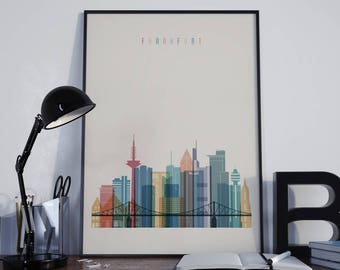 Frankfurt Art Frankfurt Watercolor Frankfurt Multicolor Frankfurt Wall Art Frankfurt Wall Decor Frankfurt Home Decor Frankfurt Poster Print