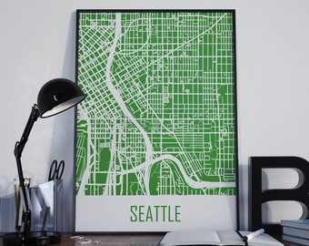 Seattle Map Seattle Travel Map Seattle Street Map Seattle City Map Seattle Map Poster Seattle Map Photo Seattle Map Print Seattle Map Art