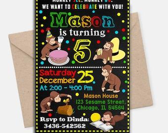 Curious George Birthday/ Curious George Birthday Invitation/ Curious George Invitation/ Curious George Invite/ Curious George Printable