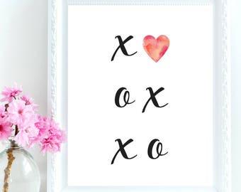 X and O Print, Printable Wall art, XO Print, Minimalist Print, Black & White Art, Watercolor Print, XOXO Printable, XOXO, Hugs and Kisses
