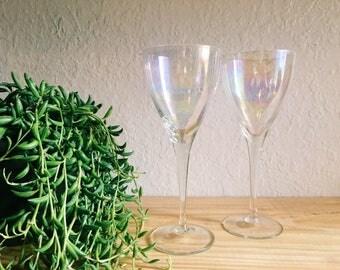 Pair of Vintage Iridescent Glasses, Long stem Wineglasses // SALE