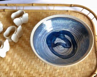 Vintage Earthenware Bowl with Pedestal, Blue Drip ware Bowl