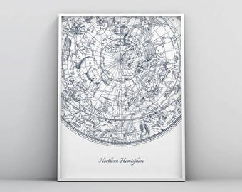 Northern Hemisphere Print, Celestial Star Chart Constellations, Star Map, Star Guide, Space Printable, Astronomy Poster, Home Decor Wall Art