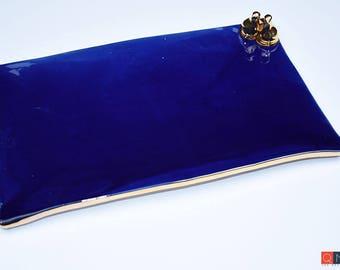 Gold-birds Platter, Large Rectangular Blue Plate, Handmade Luxury Ceramic, Melbourne