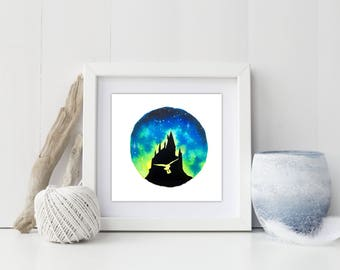 """Wizard Academy at Sunrise watercolor 5"""" x 5"""" print"""