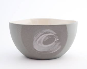 Ceramic bowl. Breakfast bowl. Slate gray. Minimalist decor. Design object. Contemporary shape. Boho chic
