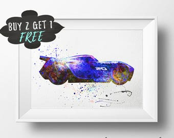 Jackson Storm Art Print Poster, New Cars 3 Wall Art Nursery Decor Printable Jackson Storm Watercolor Instant Download Cars Baby Shower Decor