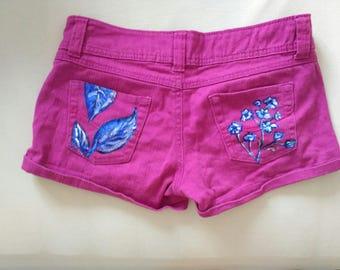Hand-painted short pants/handpainted short shorts