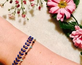 Bracelet Navy Blue foliage - foliage collection