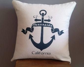 Custom city, anchor pillow cover