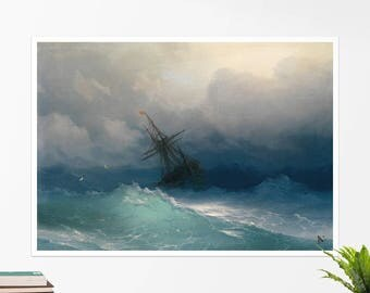 "Ivan Aivazovsky, ""Ship on Stormy Seas"". Art poster, art print, rolled canvas, art canvas, wall art, wall decor"