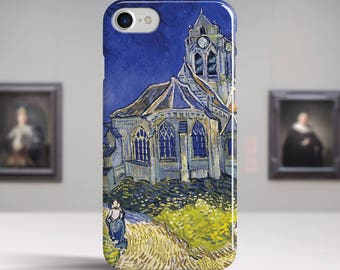 """Vincent Van Gogh, """"The Church at Auvers"""". iPhone 8 Case Art iPhone 7 Case iPhone 6 Plus Case and more. iPhone 8 TOUGH cases Art iphone cases"""