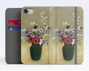"""Odilon Redon, """"Green Vase with Flowers"""". iPhone 8 Wallet case, iPhone 7 Wallet case  iPhone 6 Plus Wallet case. Samsung Wallet cases."""