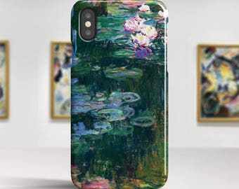 "Claude Monet, ""White and Purple Water Lilies"". iPhone X Case Art iPhone 8 Case iPhone 7 Plus Case and more. iPhone X TOUGH cases."