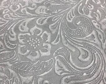 Cowhide gray Nubuck Leather, SALE, 1.0-1.1 mm, 10 sq. ft, printed, floral leather, bookbinding, crafts, accessories, floral, pattern
