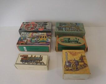 Avon Products Collectors Set (6)-Vintage Trains , Glass Cologne Bottles