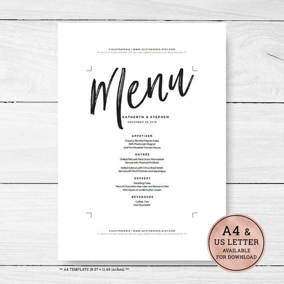 Minimal Wedding Menu Template Download Printable Editable