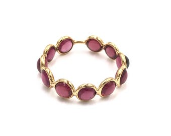 18k gold 4mm pink rhodalite stacking ring, 18k gold ring , Rhodalite eternity band, Garnet eternity band, Garnet ring