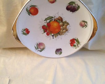 Sovereign china meat charger plate gold gilt edge fruit plate - large white plate - platter plate - fruit bowl plate