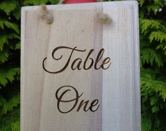 Wedding / Event Table Numbers - Wooden Engraved Rustic Plaque can be Personalised