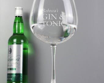 Personalised Gin And Tonic Balloon Glass | Custom Balloon Glass | Gin And Tonic Glass | Add a name, Engraved Gift For Her or Him, Birthday